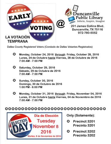 All the times and dates for Early Voting.