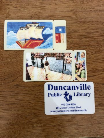 Three different library card designs