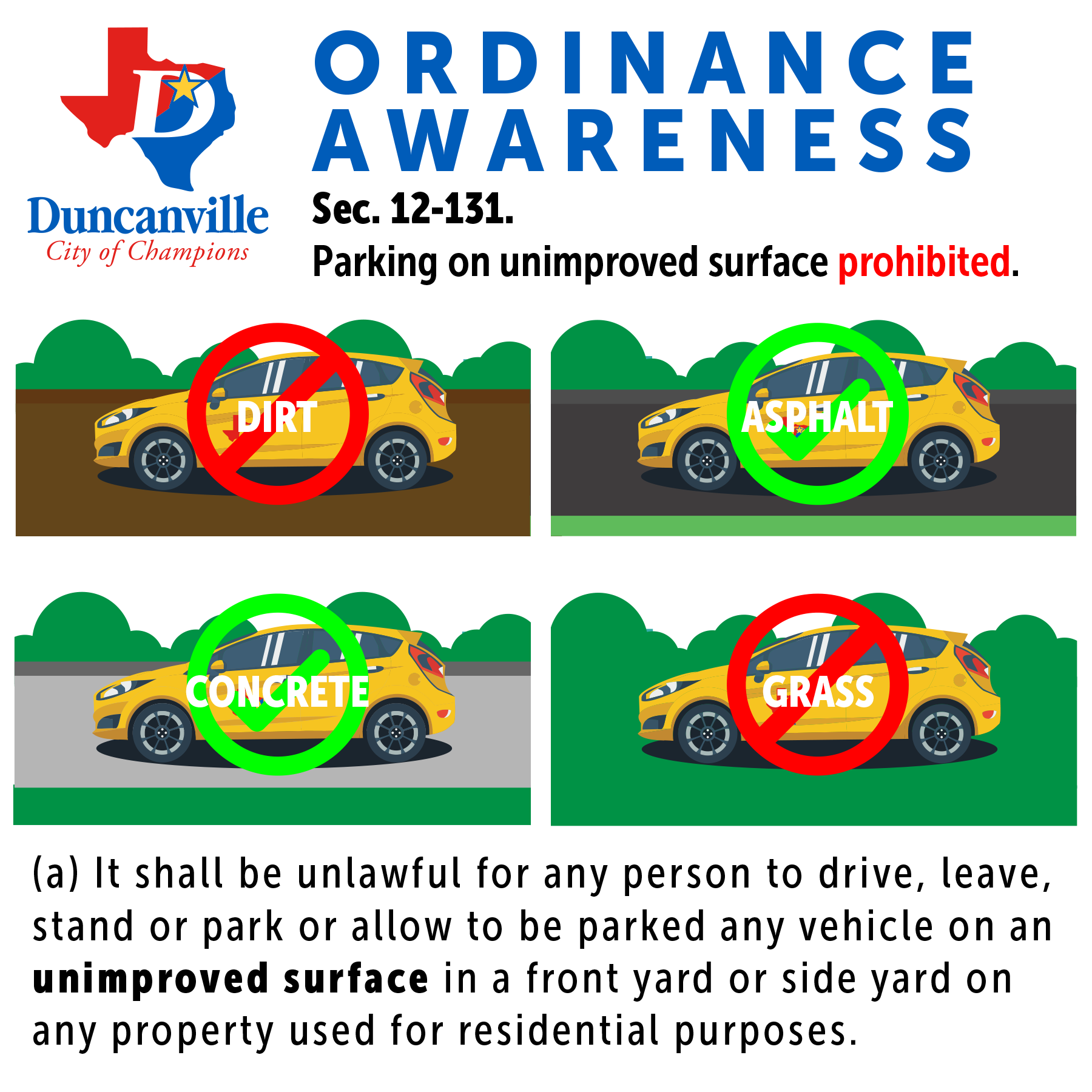 Ordinance Sec. 12-131 - Parkin on unimproved surface prohibited.