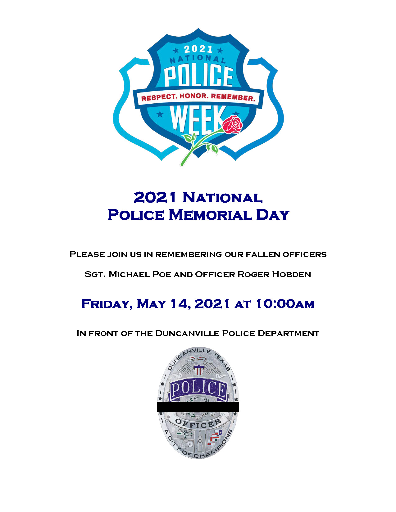Police Memorial Day flyer 2021