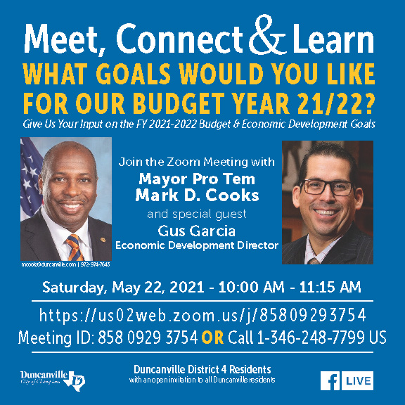 Meet, Connect & Learn - What goals would you like for budget year 21/22?