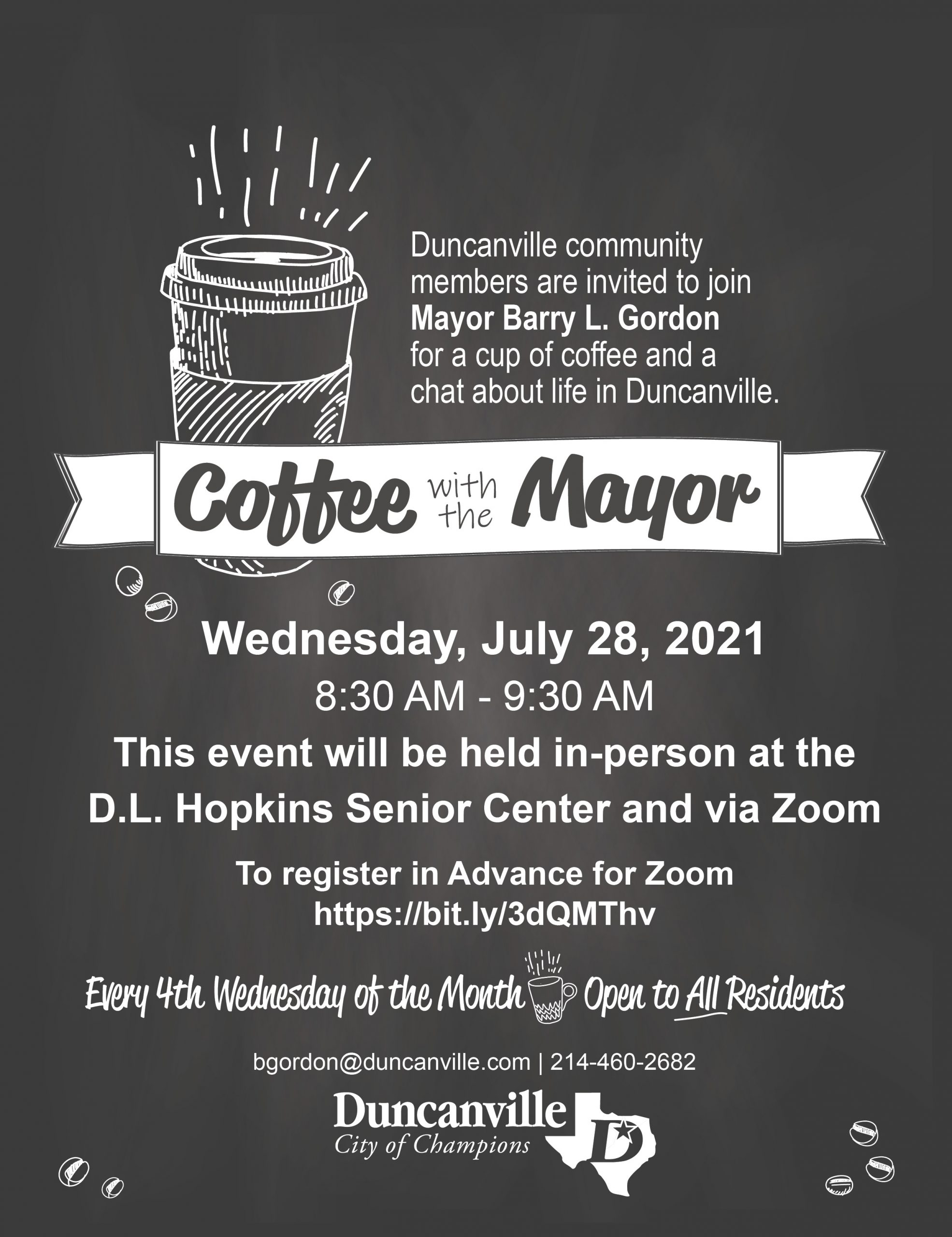 july coffee with the mayor flyer