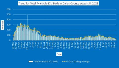 2021-08-08 - trend for total available icu beds in dallas county