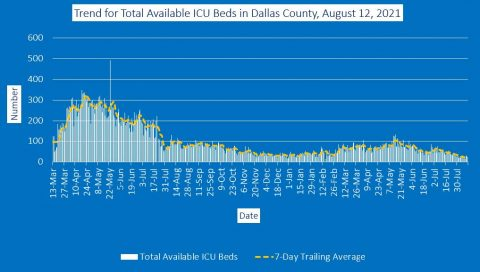 2021-08-12 - trend for total icu beds in dallas county