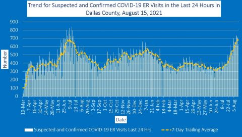 2021-08-15 - trend for suspected and confirmed covid-19 er visits in the last 24 hours in dallas county