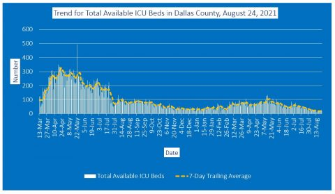 2021-08-24 - trend for total available icu beds in dallas county