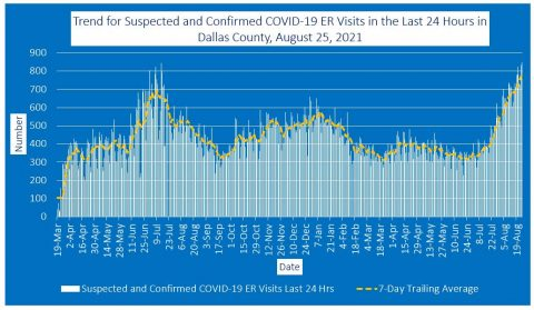 2021-08-25 - trend for suspected and confirmed covid-19 er visits in the last 24 hours in dallas county