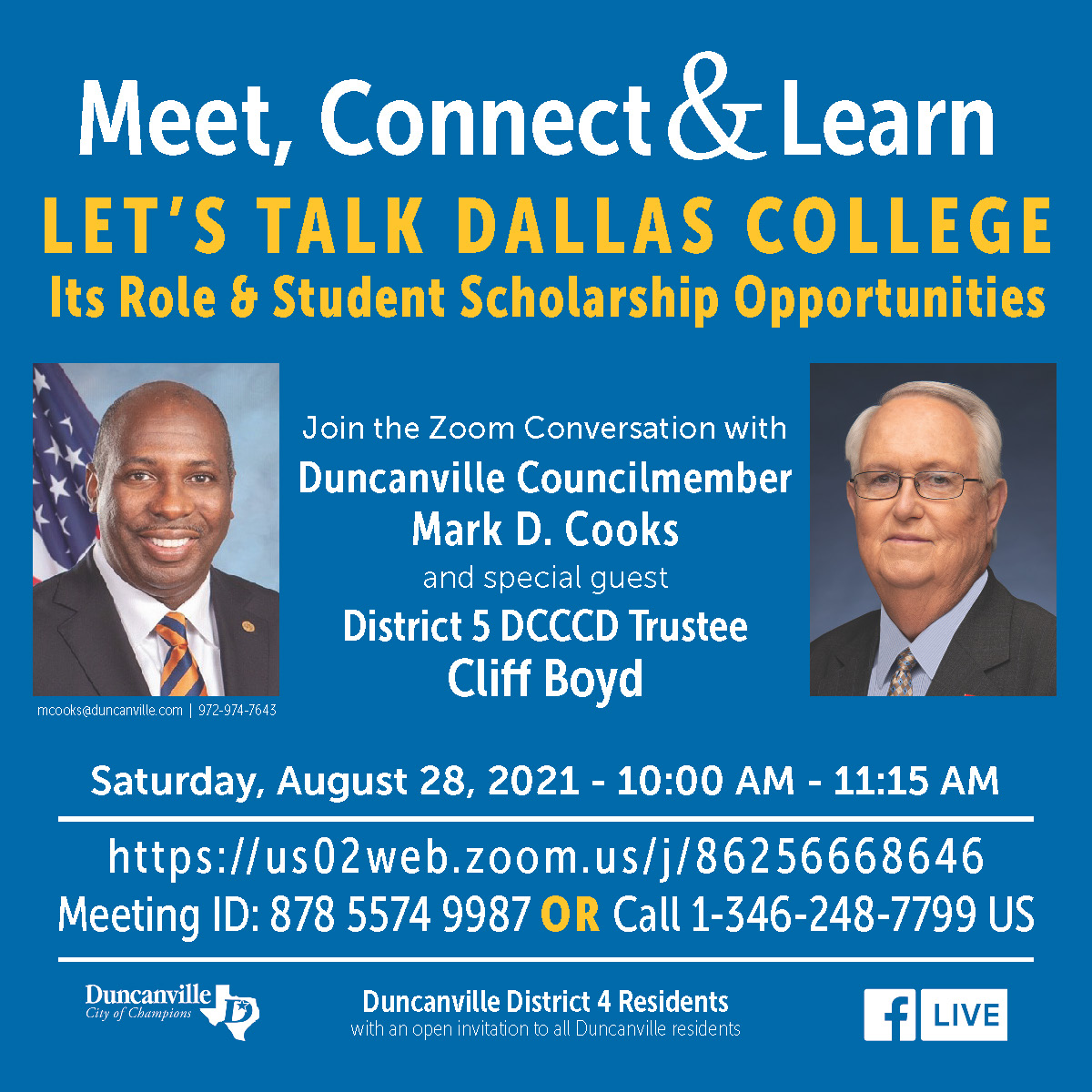 Meet, Connect & Learn with Councilmember Mark D. Cooks