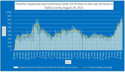 2021-08-29 - trend for suspected and confirmed covid-19 er visits in the last 24 hours in dallas county
