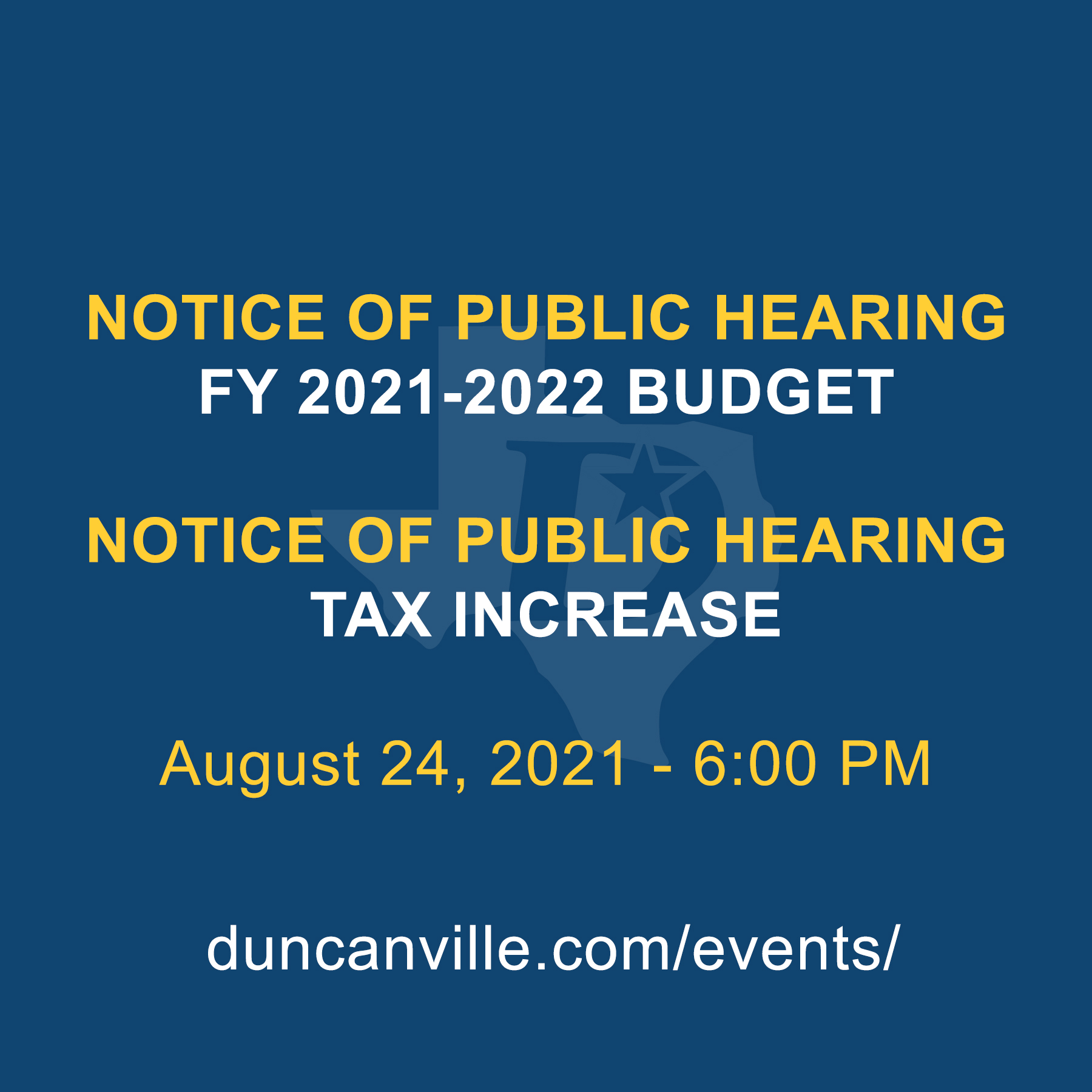 notice of public hearing - budget - tax rate