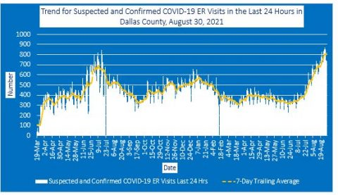 2021-08-30 - trend for suspected and confirmed covid-19 er visits in the last 24 hours in dallas county